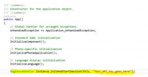 Insert Bugsense API key
